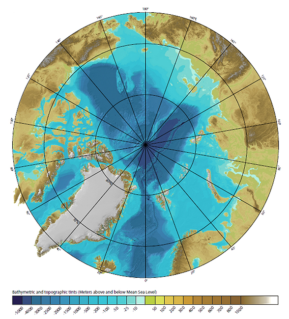Figure 2-2. Bathymetric Features of the Arctic Ocean (Base map is from IBCAO http://www.ngdc.noaa.gov/mgg/bathymetry/arctic/)